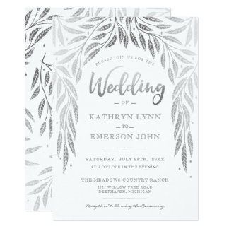 Under the Willows Wedding Invitation Faux Silver