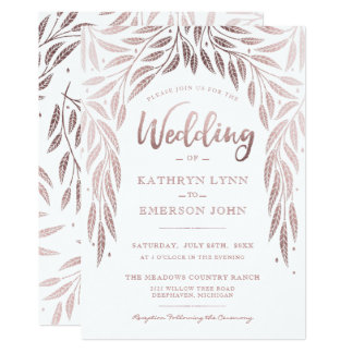 Under the Willows Wedding Invitation Rose Gold
