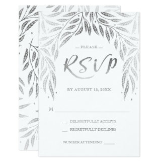 Under the Willows Wedding RSVP Faux Silver Card
