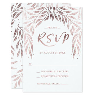 Under the Willows Wedding RSVP Rose Gold Card