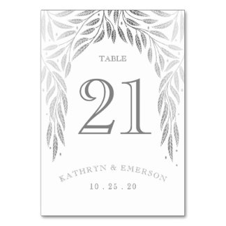 Under the Willows Wedding Table Cards Faux Silver