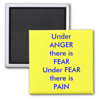 UnderANGERThere is fearUnderFEARThere isPAIN, U... Square Magnet