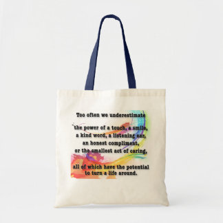 underestimate the power budget tote bag