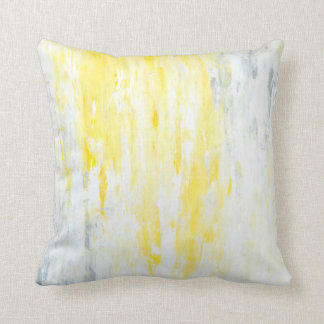 'Underestimated' Grey and Yellow Abstract Art Cushion