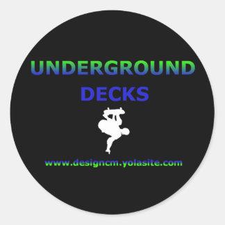 underground decks round sticker
