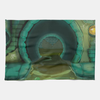 Underground Sewers Tunnel Cartoon Tea Towel