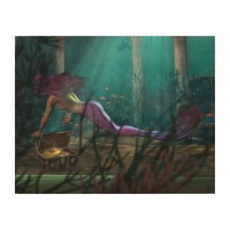 Undersea Fantasy Digital Art Mermaid and Treasure Wood Canvases