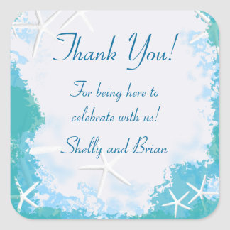 Undersea Stars Thank You Favor Label Square Sticker