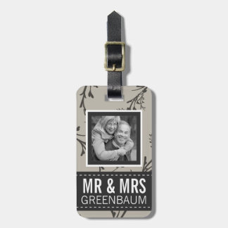 Understated Floral Mr and Mrs Personalized Photo Luggage Tag