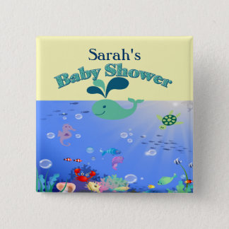 Underwater Adventure Baby Shower Boy Or Girl 15 Cm Square Badge