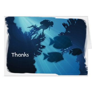 Underwater Blue World Fish & Scuba Diver Card
