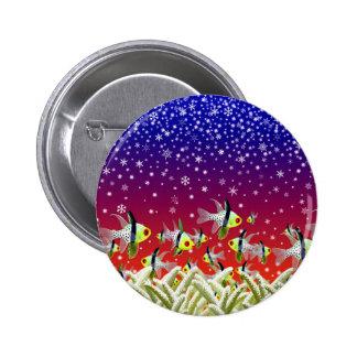 Underwater Christmas Scene 6 Cm Round Badge