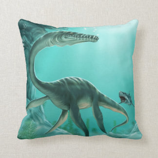 Underwater Dinosaur Throw Pillow