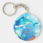 Underwater dolphin artwork design basic round button key ring