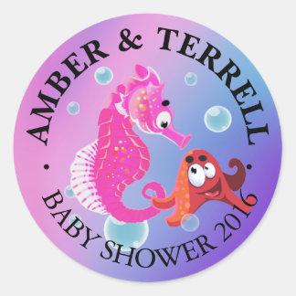 Underwater Fantasy Baby Shower | pink purple blue Round Sticker