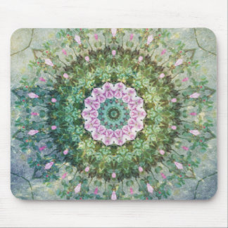 Underwater Fantasy Kaleidoscope, Lilac and Green Mouse Pad