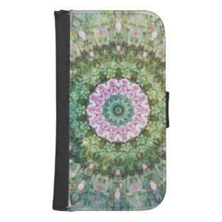 Underwater Fantasy Kaleidoscope, Lilac and Green Samsung S4 Wallet Case