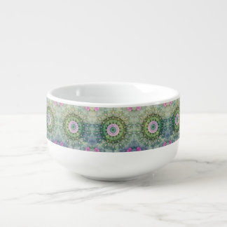 Underwater Fantasy Kaleidoscope, Lilac and Green Soup Mug