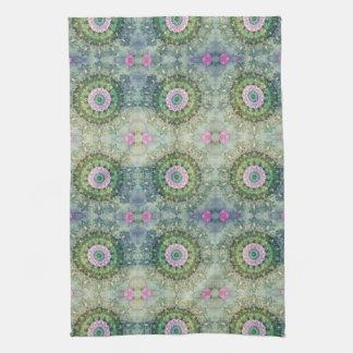 Underwater Fantasy Kaleidoscope, Lilac and Green Tea Towel