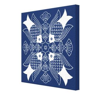 Underwater Fish Design with Blue Background Canvas Print