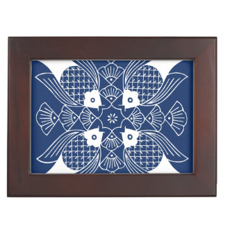 Underwater Fish Design with Blue Background Keepsake Box