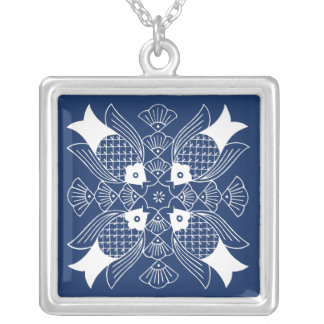 Underwater Fish Design with Blue Background Silver Plated Necklace
