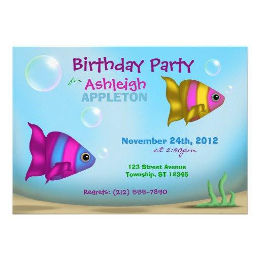 Underwater Fish - Kids Birthday Party Invitations