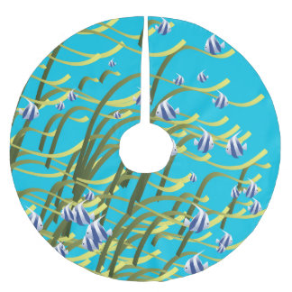 Underwater life brushed polyester tree skirt