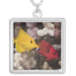 Underwater life; FISH: A Yellow Tang (Zebrasoma Silver Plated Necklace