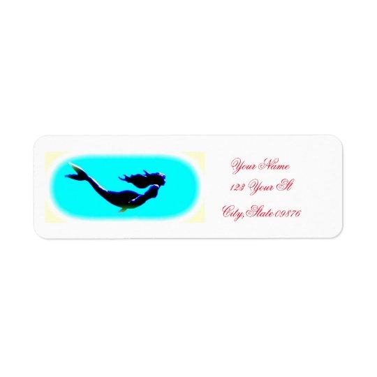 underwater mermaid return address label