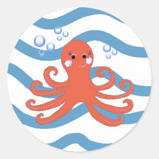 Underwater Octopus Round Stickers