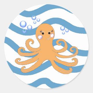 Underwater Octopus Round Sticker