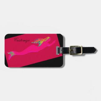 underwater pink mermaid swimming black luggage tag