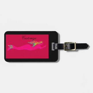 underwater pink mermaid swimming luggage tag