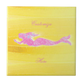 underwater pink mermaid swimming small square tile