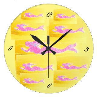 underwater pink mermaids swimming wall clocks