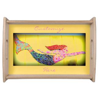 underwater pink mosaic mermaid serving tray