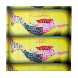 underwater pink mosaic mermaids swimming small square tile
