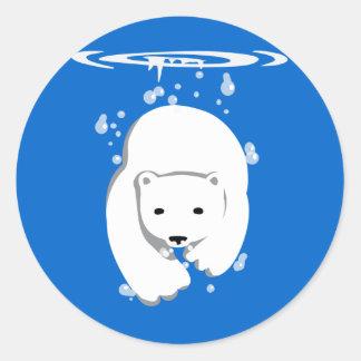 Underwater Polar Bear Classic Round Sticker
