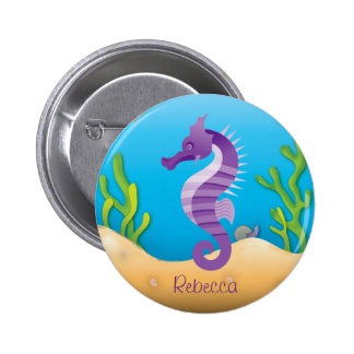 Underwater Purple Seahorse Pinback Buttons