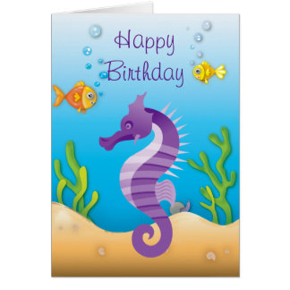 Underwater Purple Seahorse Birthday Card