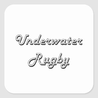 Underwater Rugby Classic Retro Design Square Sticker