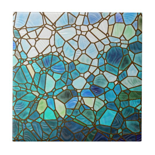 Underwater scene stained glass small square tile
