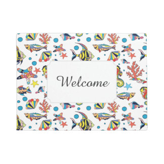Underwater Sea Life Pattern | Add Your Text Doormat