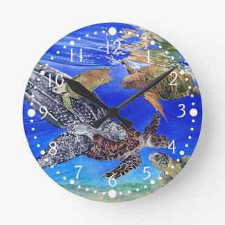 Underwater Sea Turtles Art Endangered Species Wall Clocks