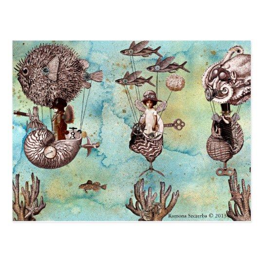 Underwater Steampunk Flotilla Postcard
