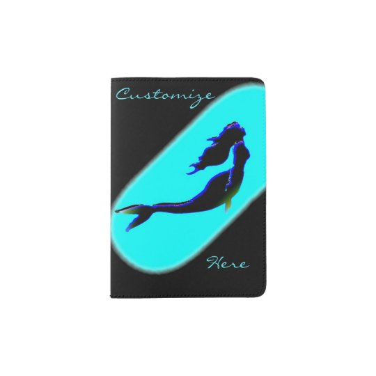 underwater swimming black mermaid passport holder
