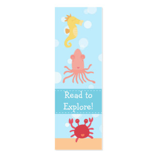 Underwater theme with sea creatures tiny bookmark Double-Sided mini business cards (Pack of 20)