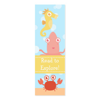 Underwater theme with sea creatures tiny bookmark pack of skinny business cards