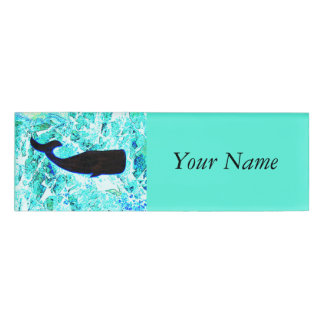underwater whale swimming Thunder_Cove Name Tag
